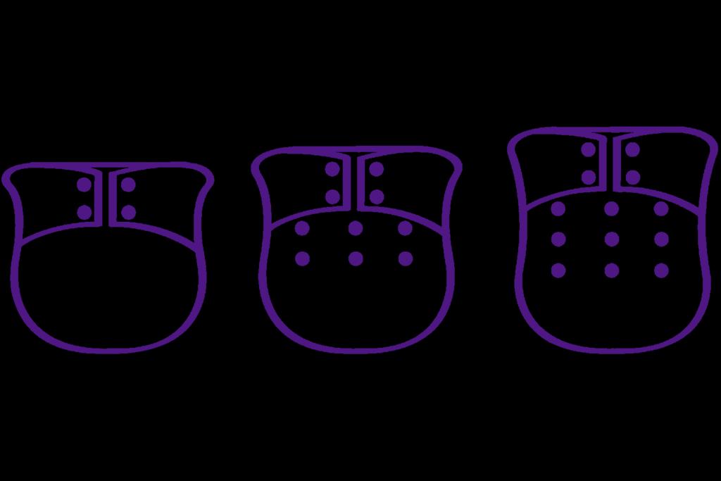 Grafik mit Stoffwindeln in verschiedenen Größeneinstellungen. Lila auf schwarzem Hintergrund, Titelbild zur Black Week 2019