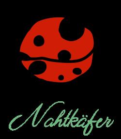 Nahtkäfer Logo (roter Käfer, darunter mint-grüner Schriftzug
