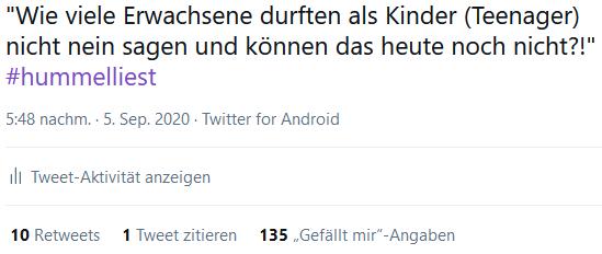 """Screenshot eines Tweets während Inke Hummels Buchpremiere und Lesung von """"Miteinander durch die Pubertät"""""""